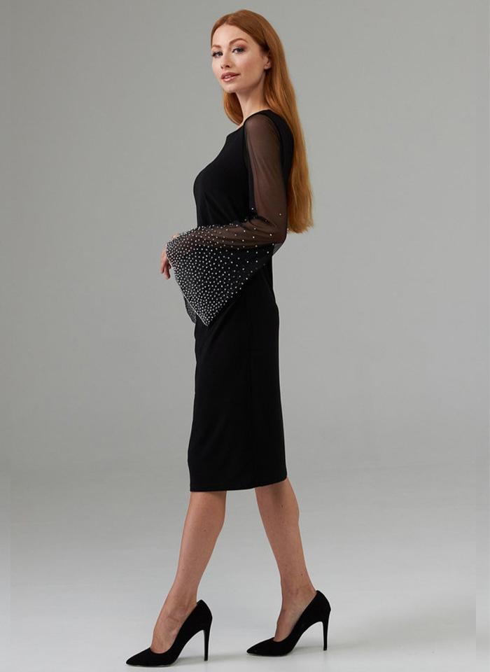 Joseph Ribkoff. Czarna sukienka z efektownym rękawem.
