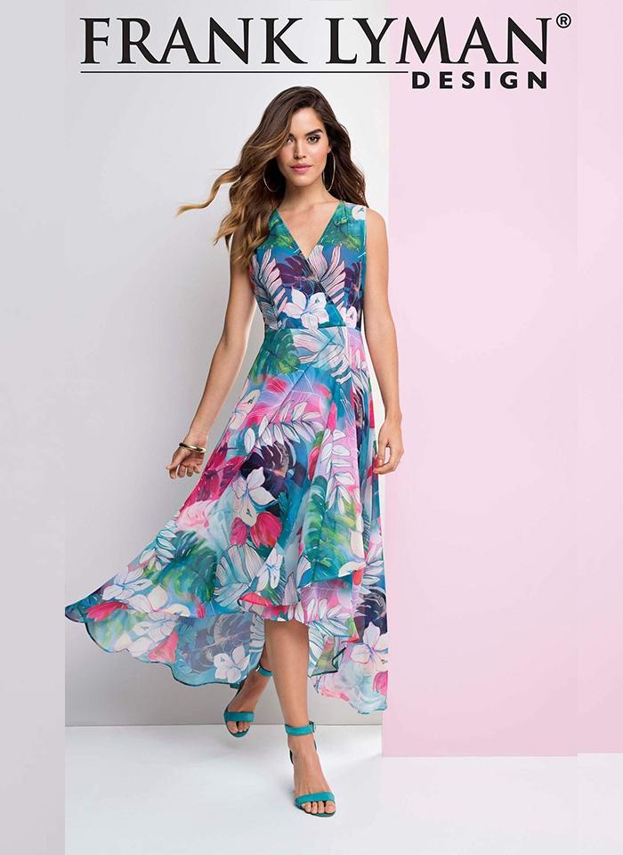 Frank Lyman. Kwiecista sukienka w pastelowych kolorach