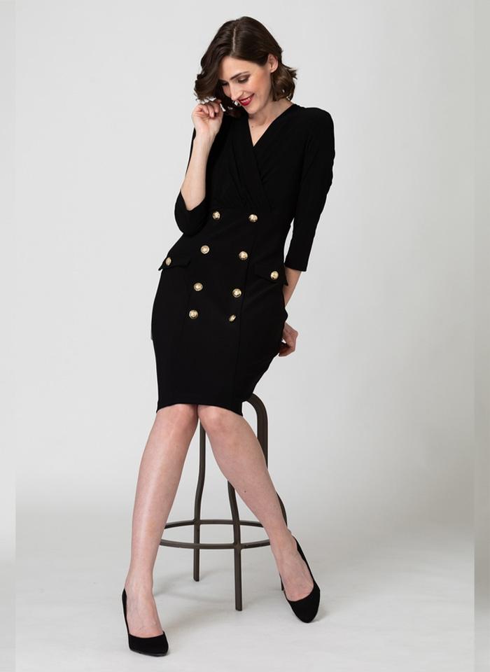 Joseph Ribkoff, Czarna sukienka ze złotymi guzikami