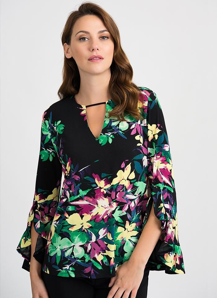 Joseph Ribkoff, Czarna bluzka w kolorowe kwiaty