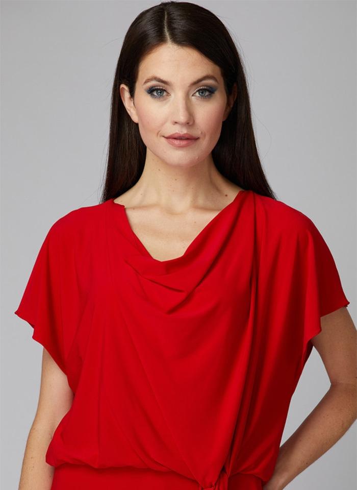 Joseph Ribkoff, Czerwona sukienka w casualowym stylu.