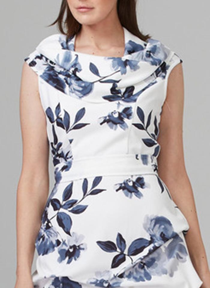 Joseph Ribkoff, Biała koktajlowa sukienka w kwiaty.