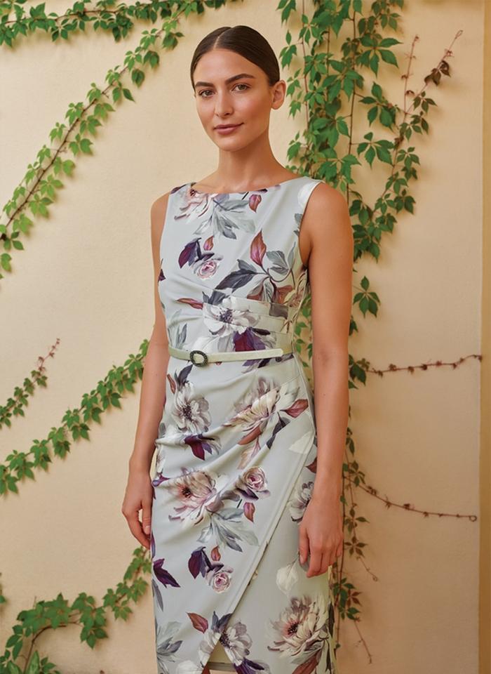 Joseph Ribkoff, Szara koktajlowa sukienka w kwiaty.