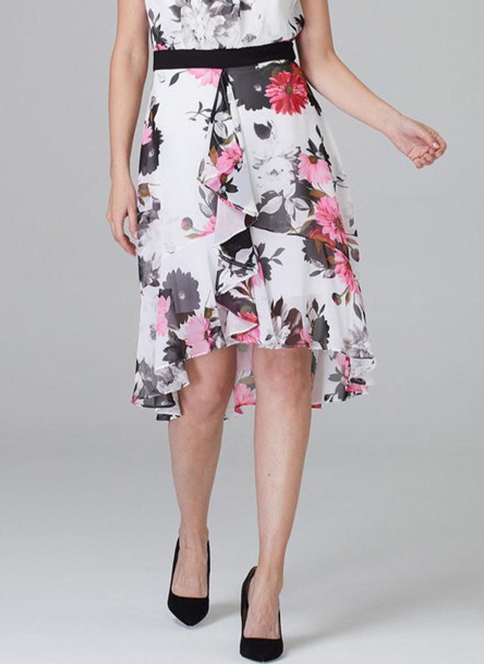 Joseph Ribkoff, Biała sukienka w kolorowe kwiaty.