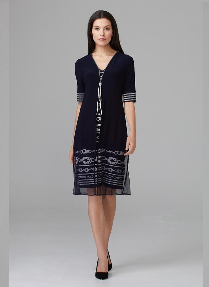 Joseph Ribkoff, Granatowa sukienka w stylu w jachtingowym.
