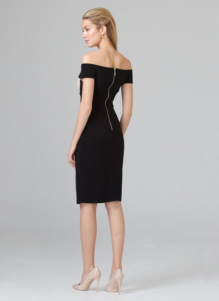 Joseph Ribkoff, Czarno - beżowa sukienka z odkrytymi ramionami.