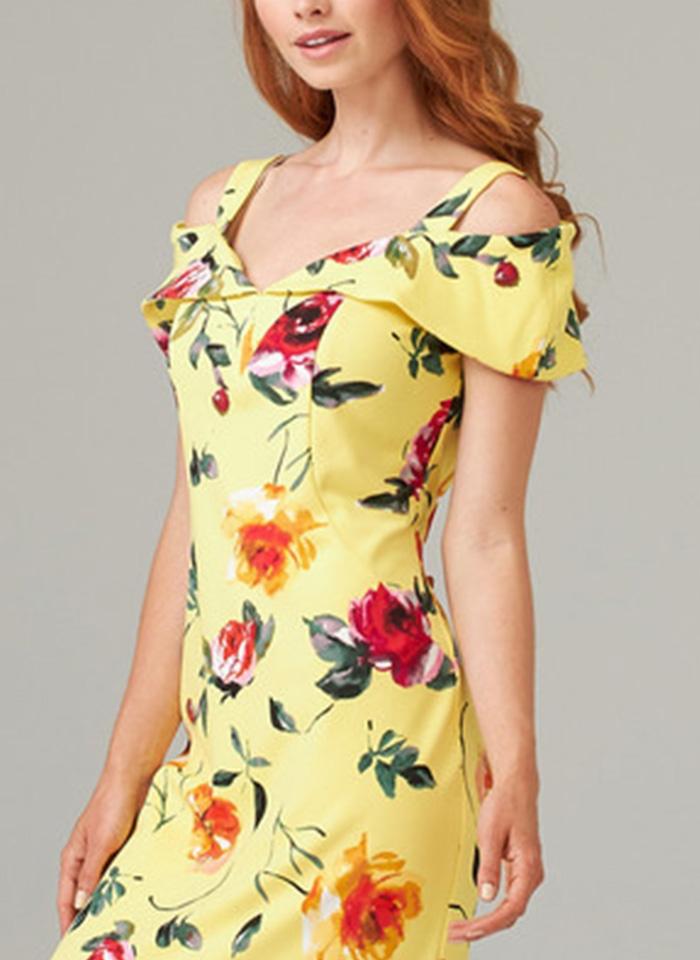 Joseph Ribkoff, Żółta sukienka w kolorowe kwiaty.