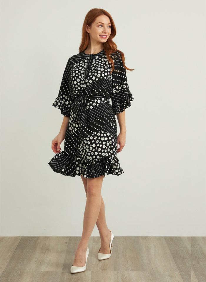 Joseph Ribkoff, Czarno-biała sukienka z efektownym rekawem.
