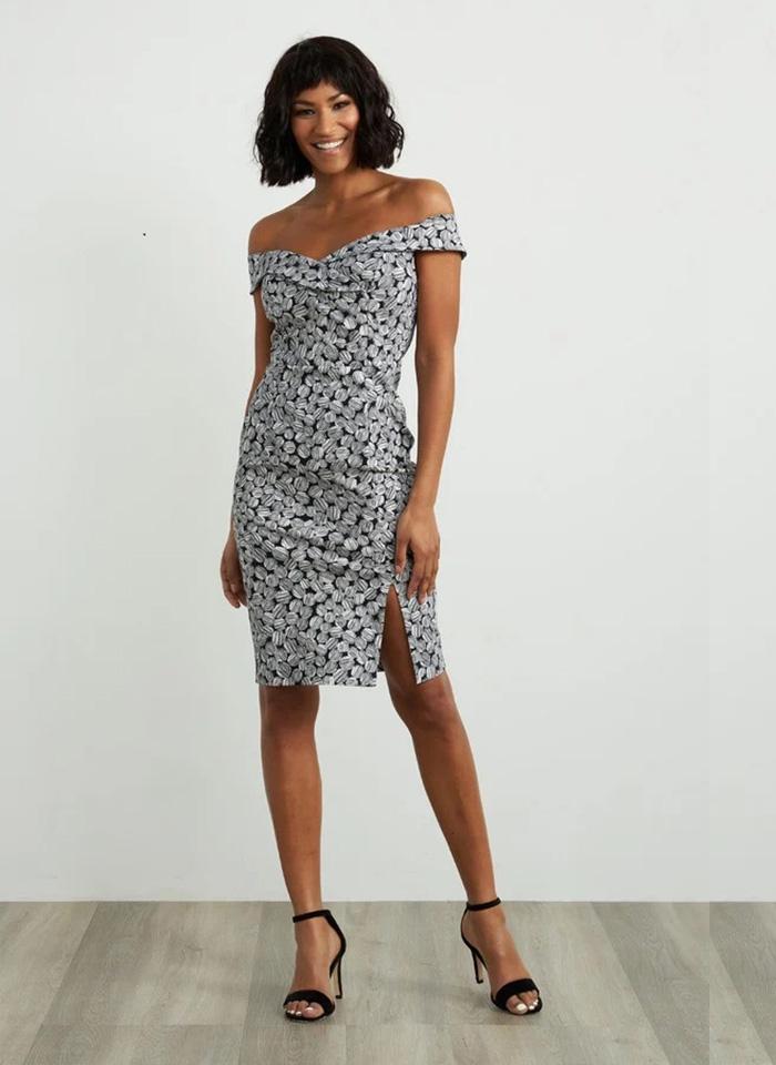 Joseph Ribkoff, Koktajlowa sukienka z odkrytymi ramionami.