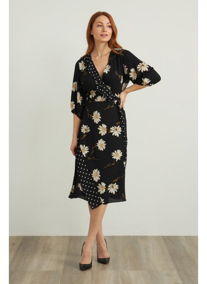 Joseph Ribkoff, Zwiewna czarna sukienka w kwiaty