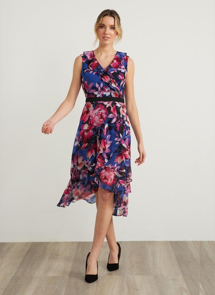 Joseph Ribkoff, Szafirowa sukienka w kwiaty.