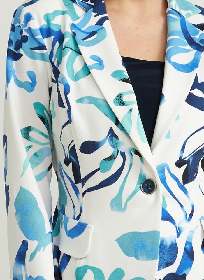 Joseph Ribkoff, Biały żakiet w niebieskie kwiaty.
