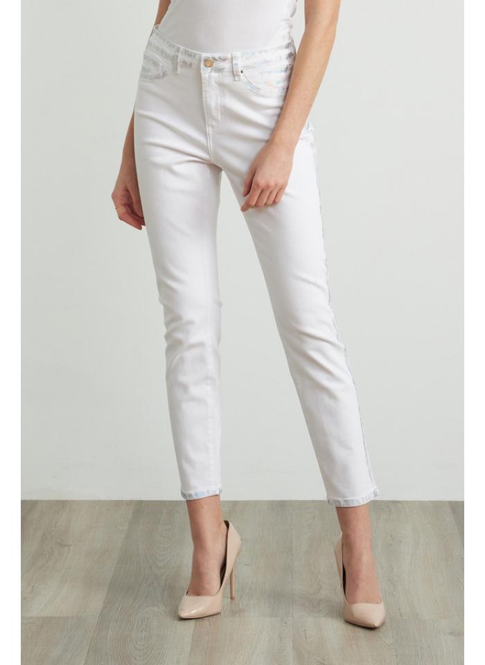 Joseph Ribkoff, Białe spodnie ze srebrnymi przetarciami.