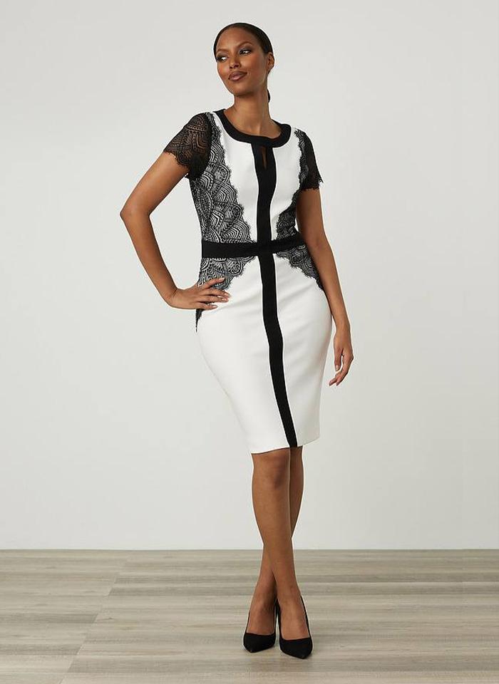 Joseph Ribkoff, Biało - czarna sukienka z koronkowym rękawkiem.
