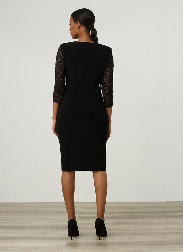 Joseph Ribkoff, Czarna sukienka z koronkowymi rękawami.