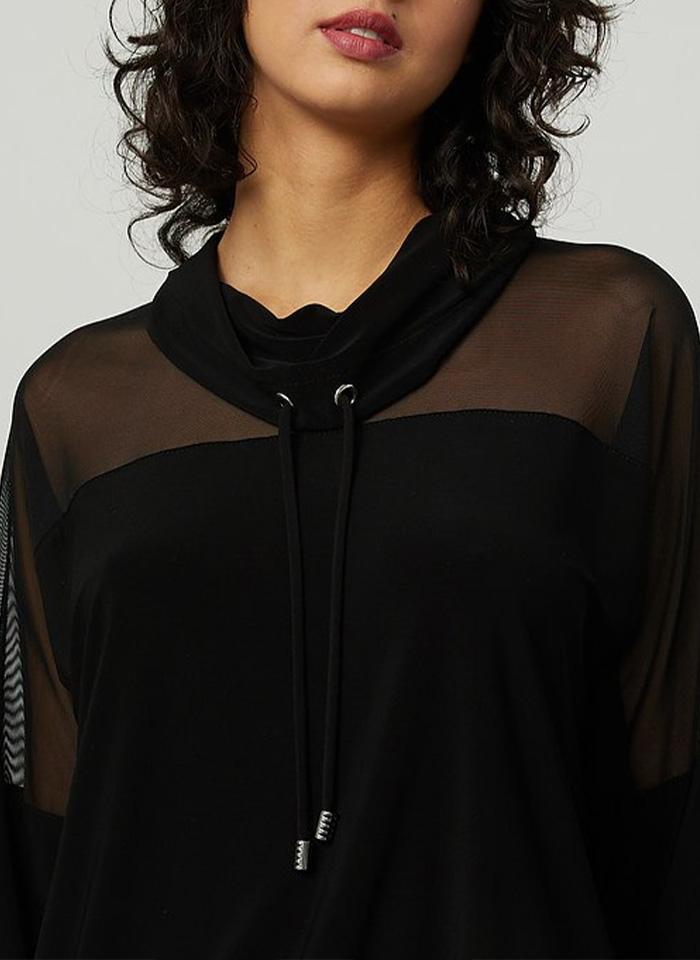 Joseph Ribkoff, Czarna bluza w sportowym stylu.