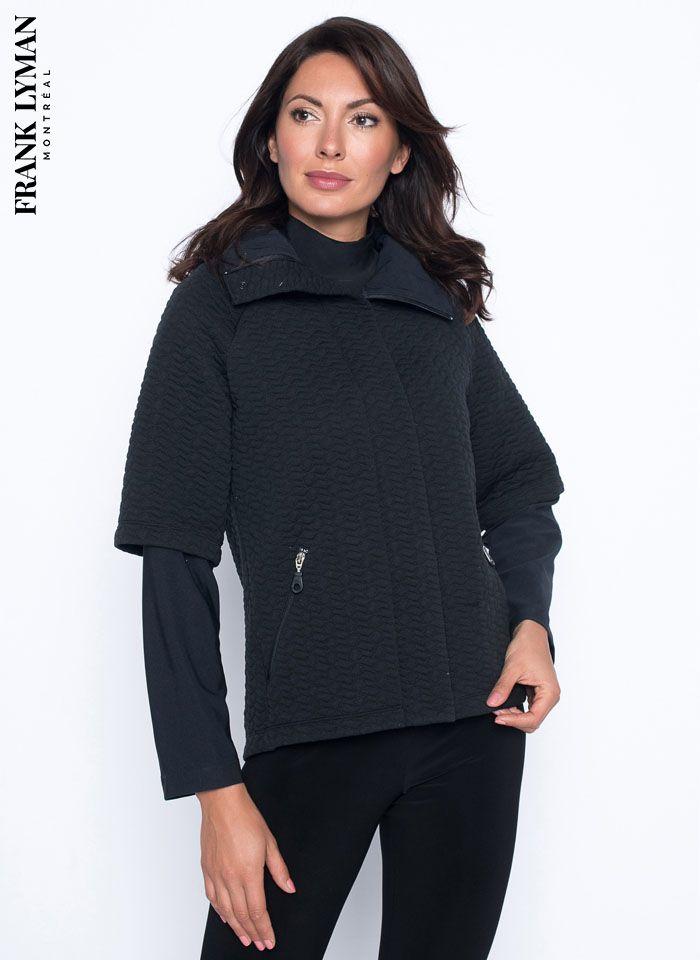 Frank Lyman, Elegancka czarna kurtka pikowana