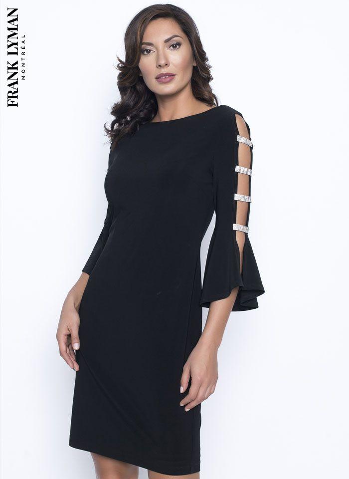 Frank Lyman, Czarna sukienka z rękawem, zdobiona dżetami