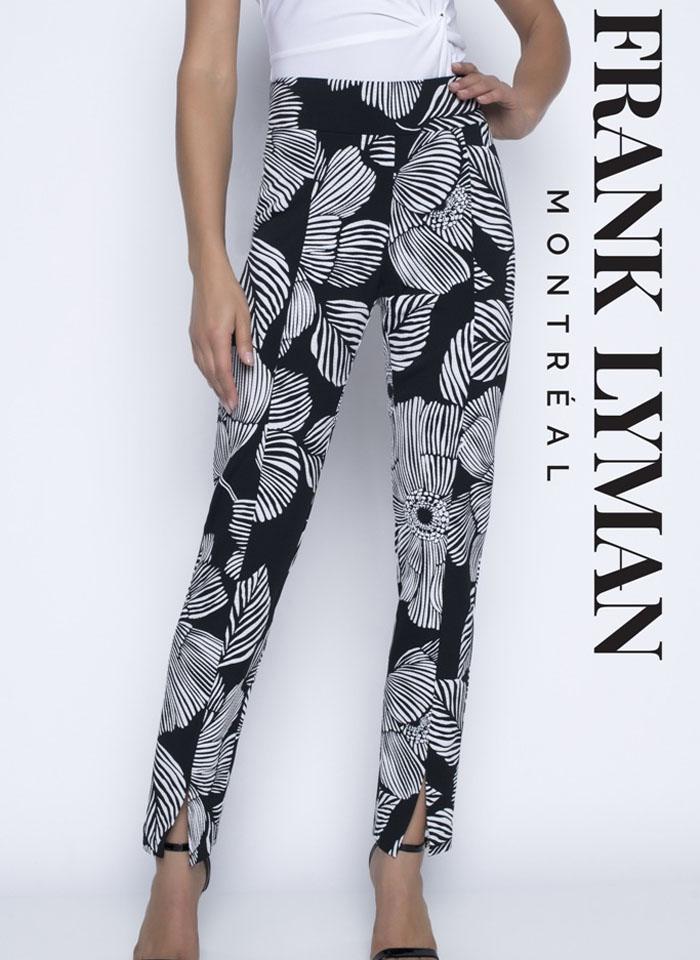 Frank Lyman, Piękne i eleganckie czarne spodnie w białe kwiaty