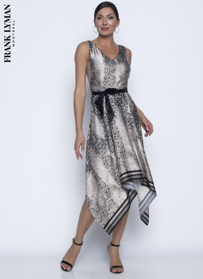Frank Lyman, Satynowa sukienka z motywem wężowej skóry