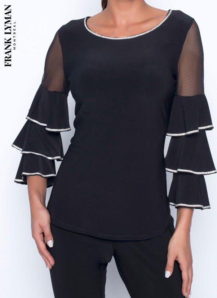 Frank Lyman, Czarna bluzka z falbaniastym rękawem zdobiona dżetami