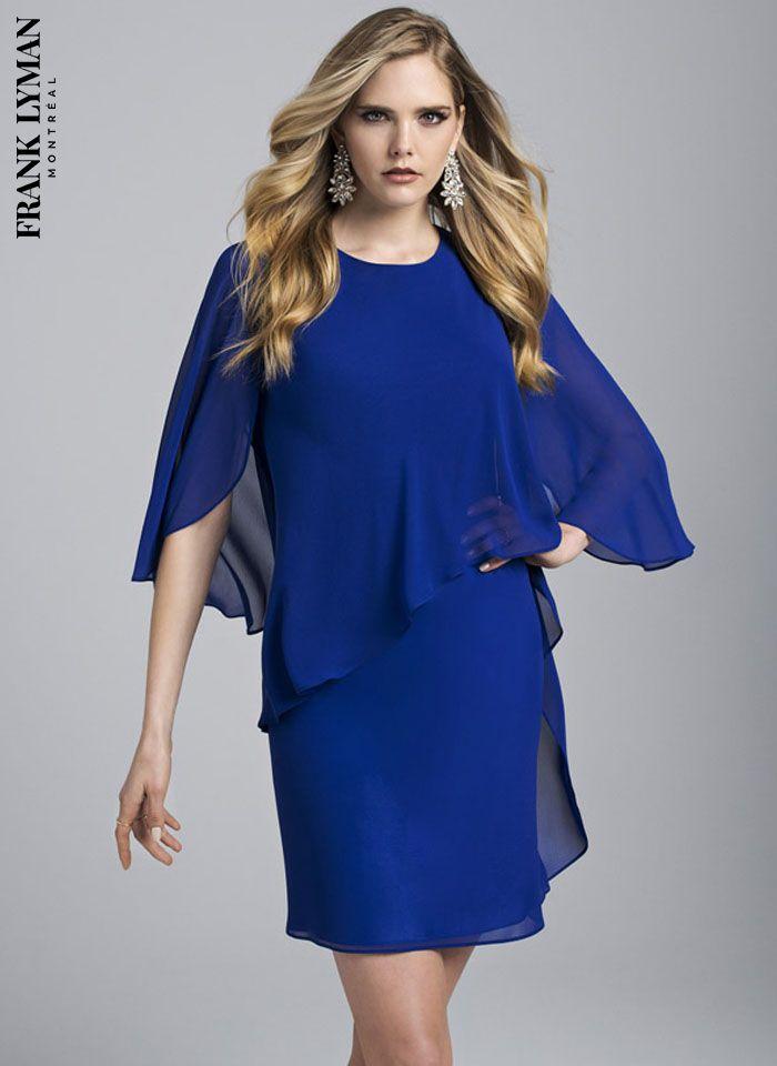 Frank Lyman, Szafirowa zwiewna sukienka z rękawem, 2 kolory