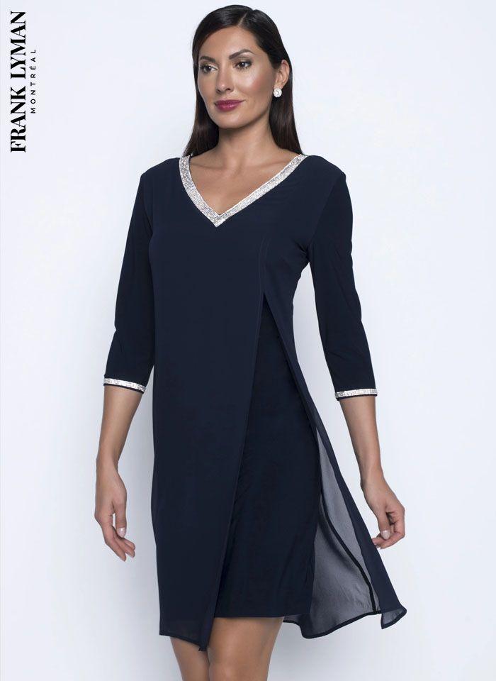 Frank Lyman, Wieczorowa sukienka z dekoltem zdobionym dżetami