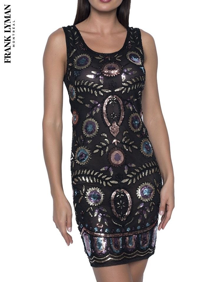 Frank Lyman, Oryginalna czarna sukienka zdobiona cekinami