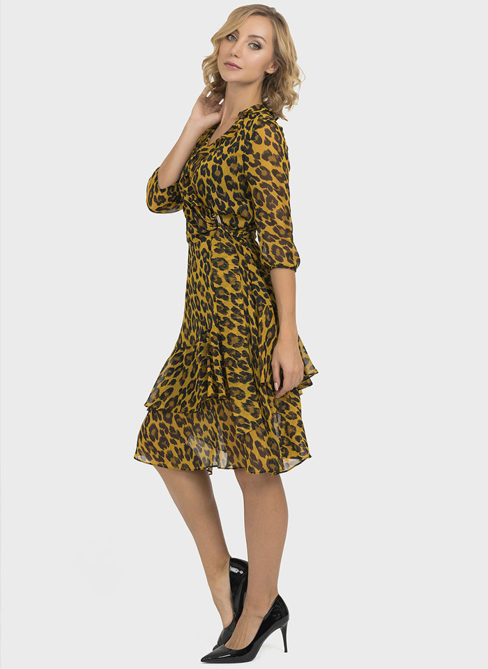 Joseph Ribkoff, Musztardowa sukienka w panterkę z falbaną