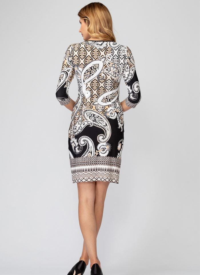 Joseph Ribkoff, Biała sukienka w beżowo czarne wzory