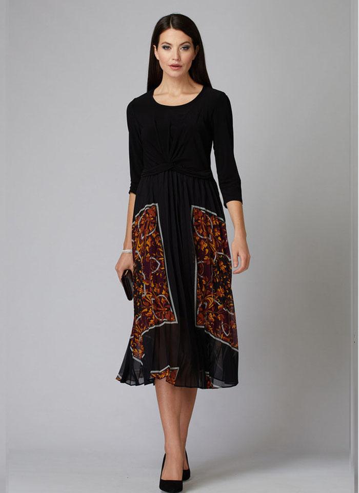 Joseph Ribkoff, Piękna, plisowana, czarna sukienka