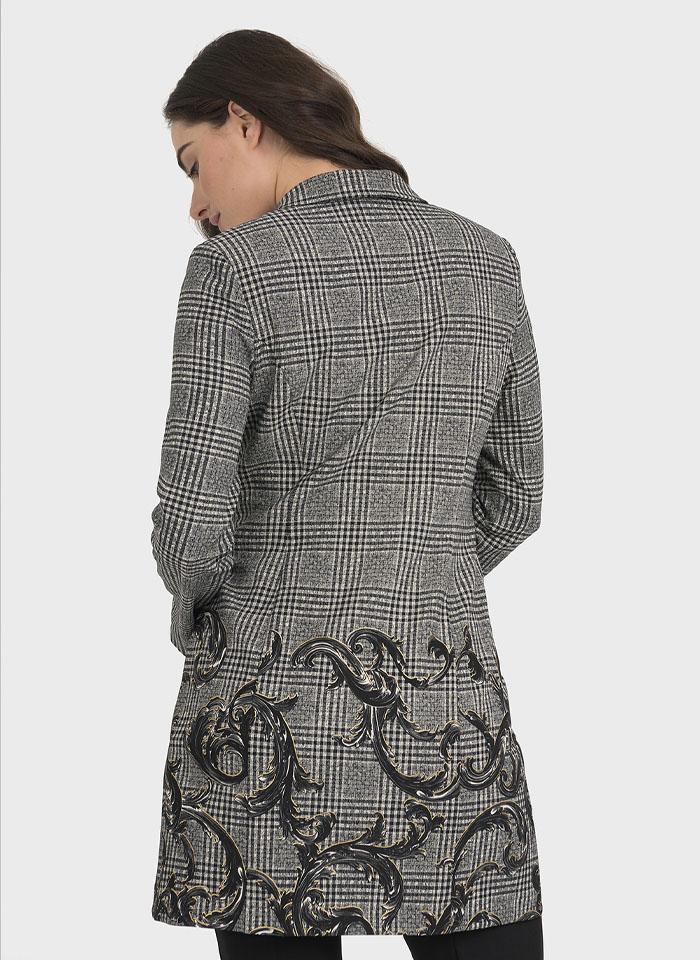 Joseph Ribkoff, Piękny, przedłużany żakiet w czarno-białą kratkę zdobiony wzorem na dole