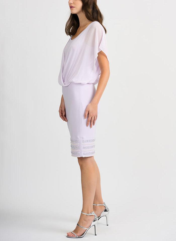 Joseph Ribkoff, Sukienka z tiulem do kolan zdobiona perełkami